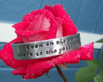 Hand Stamped Bracelet Inspirational Quote