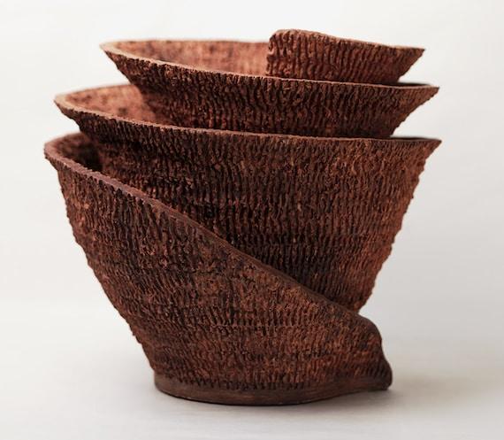 """Cerámica escultura abstracta, """"Espiral"""""""