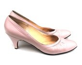 RESERVED for Maddie 1950s Housewife Pink Pumps Vintage Rose Grace Kelly Acord Hollywood Glamour Pastel Blush Ruched Leather 7 1/2 Stilettos
