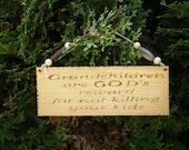 Pyrography Wood Burned Sign Grandchildren are GOD'S reward for not killing your kids