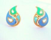 Vintage AVON Earrings Kaleidoscope Clip Earrings Paisley Blue Green Gold