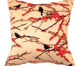 Yellow Pillow Cover.light yellow pillow-Joel Dewberry, Aviary 2, Sparrows in Bark Cushion.