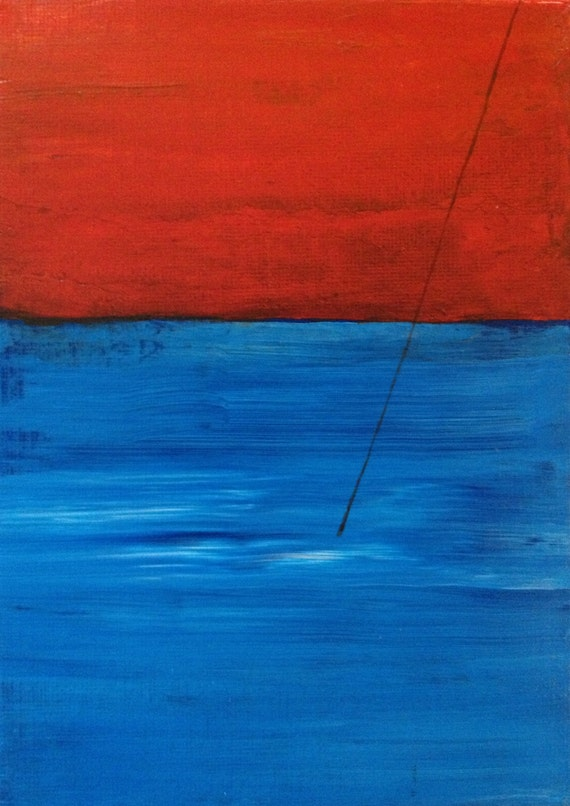 original abstract painting of fishing line in the water, 5X7