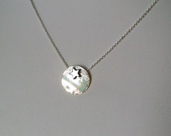 Silver Sterling chain, hematite star on a mother of pearl flat bead
