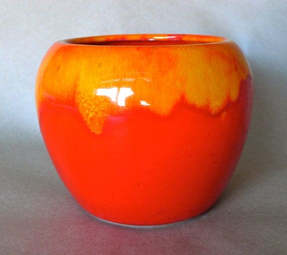 Vintage Red Orange Drip Glazed California Pottery Planter
