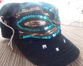 Black and Blue Bling Cap