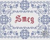 Red Dwarf 'Smeg' traditional style cross stitch sampler PDF pattern
