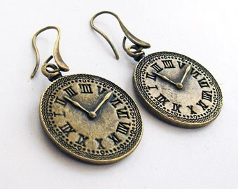 Antique Bronze Clock  Earrings Large Anti-allergy Earwires, Large