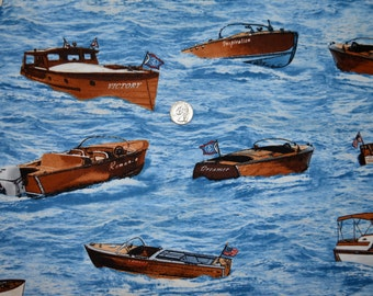 1.5 yd Timeless Treasures fabric POWERBOATS