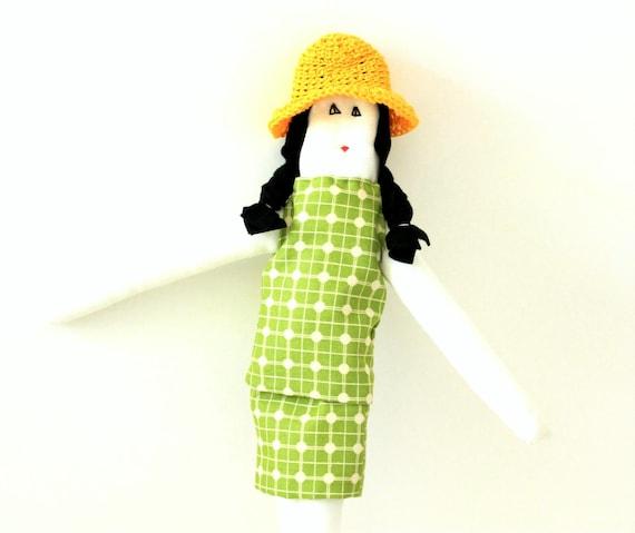 Rag doll wool felt black hair Fulana green white yellow fabric doll ooak child friendly girl stuffed doll kids soft toy gift