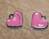 4pc Pink Heart Charm/ Enamel / Bracelet Charms / Necklace Charms / Pendants
