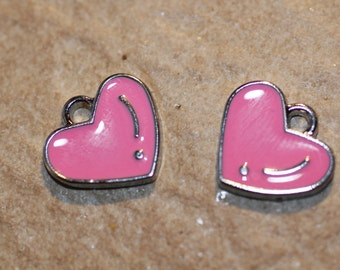4pc Pink Heart Charm/ Enamel / Bracelet Charms / Necklace Charms / Pendants