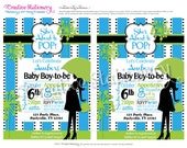 She's About to POP Boy Baby Shower DIY Party Invitations Blue and Lime Green. Customized just for you.