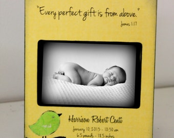 Baby Boy Girl 5x7 4x6 Photo Frame- Personalized with Name and Birth Stats -Bird Bible Verse James 1:17 christian