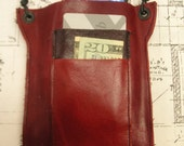 Red leather, Iphone5 wallet,  Iphone 4, 4s, 3,Wallet, Case, ipod case,  Droid,wallet, card case. smart phone,upcycled, OOAK