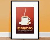 "Cafe Espresso 13"" x 19"" - Vintage Poster - Retro Art Print"