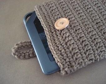 iPad mini - Nook - Kindle - case cover - handmade crochet - Dark Brown