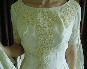 Vintage 1950's, 60's Ivory Crochet Lace Princess Style Wedding Dress and Jacket with Long Train, Size S