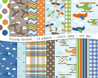 Flying Around digital scrapbooking paper pack - 14 printable jpeg papers, 12x12, 300 dpi - instant download