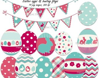 Easter Eggs and Bunting Flags Clip Art Set - pink & turquoise printable digital clipart