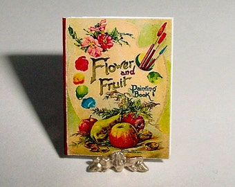 Miniature Book - FLOWER and FRUIT Painting Book - McLoughlin Bros - One Inch Scale Dollhouse Accessory Childs Nursery Coloring Book