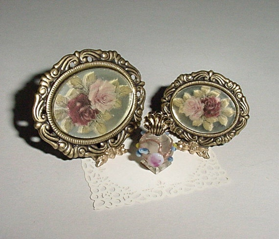 Miniature Rose Mirror Vanity Trays in Antiqued Gold with Lampwork Bead Perfume - One Inch Scale Dollhouse Accessory