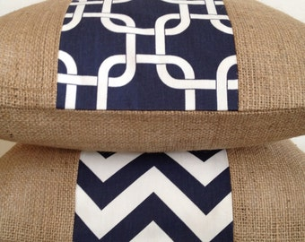 Set of Two....Navy and White Gotcha and Navy and White Chevron Fabric and Burlap Pillow Covers