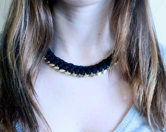 Statement Necklace. Black woven chain Necklace. Friendship Necklace