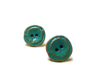 Tiny stud earrings vintage button earring studs
