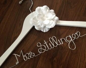 SALE Wedding Dress Hanger, Bride Hanger, Wedding Hanger, Personalized Hanger, Bridesmaid Hangers, Bride Gift, White Flower