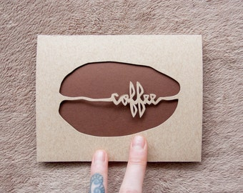 Coffee Bean Card: Laser Cut, All Occassion Card
