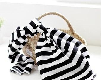 """Black and White Stripe Cotton Fabric (43 x 36"""") per Yard 37629"""
