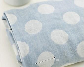 "Cotton Double Gauze Pastel Big Polkadot - Blue - per Yard (59 x 36"") 37658"