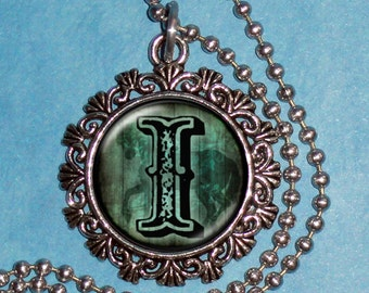 "Letter ""I"" Art Pendant,  Alphabet Resin Pendant, Vintage Silver, Black & Blue Photo Pendant"