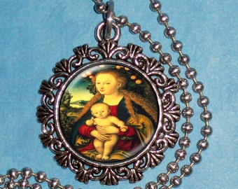 The Virgin and the Child Under an Apple Tree Art Pendant, Resin Pendant, I Lucas Cranach Art, Photo Pendant Charm