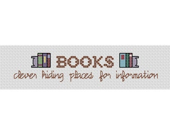 "Bookmark PDF PATTERN Funny Cross Stitch""Books"""