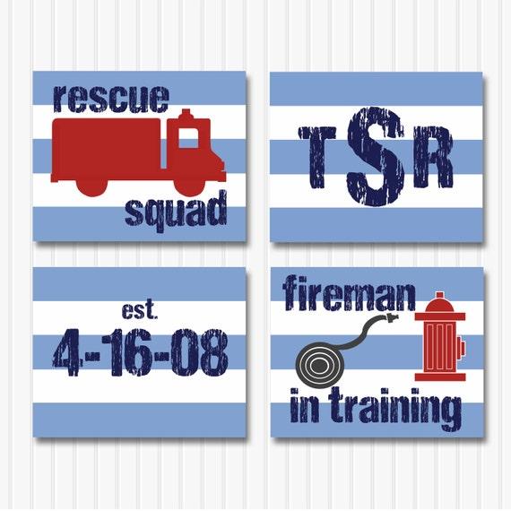 Fireman Nursery Art For Boys Fire Truck Nursery Wall Decor Personalized Pr