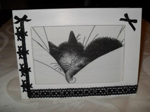 Cadre decoration fait main chat tableau decoration cadre a - Decoration chambre bebe fait main ...