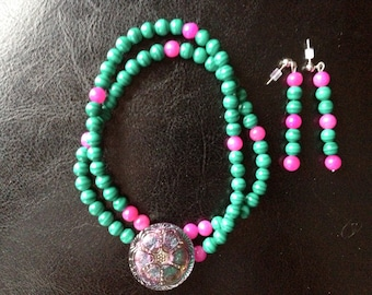 Stone bead necklace with Czeck glass button cabochon