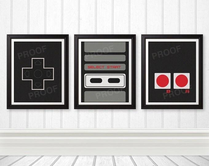 Featured listing image: NES Controller Print Set, NES Art, Nerd Art, Geek Gift, Gamer Print - 11x14 Prints