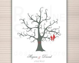 Fingerprints Tree Printable. Wedding guest book Alternative. Signature Thumbprint Poster