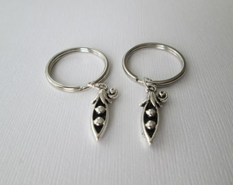 2 TINY Peas In A Pod, Best Friends Keychains/ sister gift, mother daughter, 2 friends, long distance friendship, miles away, bff