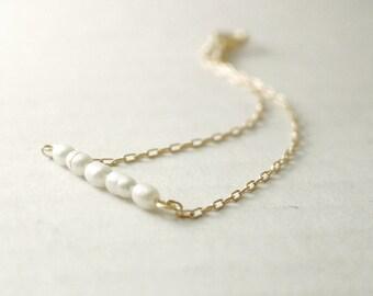 Pearl bar bracelet - freshwater pearls on gold filled - feminine dainty jewelry