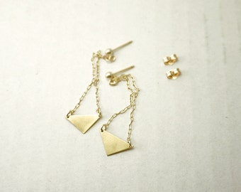 Triangle dangle earrings - gold filled and brass - long minimal geometric
