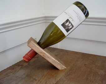 Balancing Wine Bottle Holder- Reclaimed Wood Oak Fence Board Rustic Wooden Wine Stand