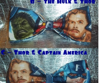 BowTies Made From Marvel Comics Avengers Fabric - Pick From 10 Cool Bow, HAND-SEWN Ties With Your Favorite Avengers - U.S.SHIPPING 0NLY 1.99