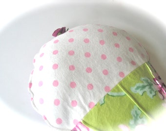 Herbal Heating Pad, Lavender Flax Seed Microwavable Heat Pack, Chartreuse Flannel, Pink Purple Mums, Aromatherapy, Lavender