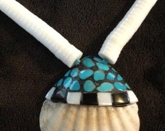 Native American Hand Made Santo Domingo Pueblo Inlaid Shell Necklace