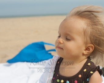 SALE Baby Enjoying the Beach, Beach Baby, Nags Head North Carolina, Photo Art, Nursery Decor, Framed Photography Option
