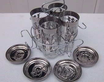 Silvery Knights in Shining Armor High Ball Set with Matching Coasters in a Carrying Caddy - 1960s Mad Men Bar Ware Vintage Home Decor